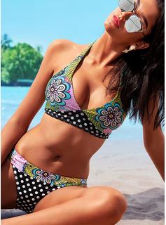 Bikinis Poliester Spandex Kwiatowy Wydrukować Dla kobiet tak Stroje kąpielowe