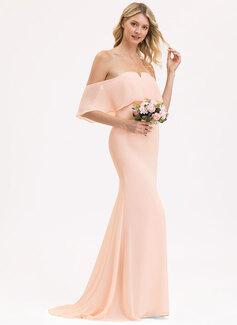 Trumpet/Mermaid Off-the-Shoulder Sweep Train Chiffon Bridesmaid Dress