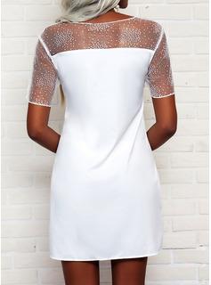 Encaje Sólido Vestidos sueltos Manga Corta Mini Elegante Vestidos de moda