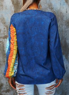 Trozos de color Impresión Cuello en V Mangas 3/4 Casual Blusas