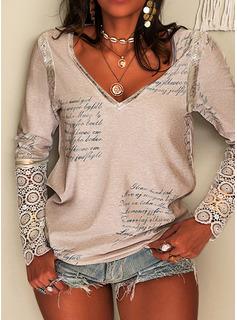 Figur Blonder Print V-hals Lange ærmer Elegant Skjorter