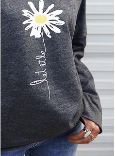 Blomster Print Figur Lange ærmer Hoodie