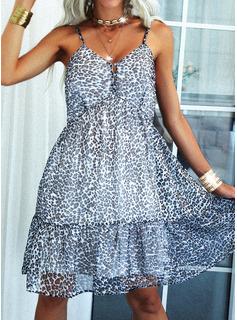 Leopardo Escotado por detrás Vestido línea A Sin mangas Midi Casual Tipo Vestidos de moda