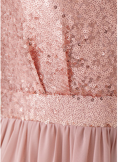 A-Line V-neck Floor-Length Chiffon Prom Dresses