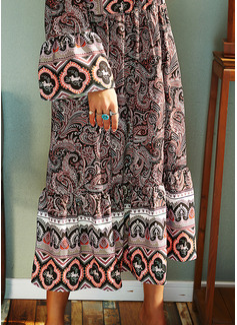 Print Skiftekjoler Lange ærmer Midi Boho Casual Tunika Mode kjoler