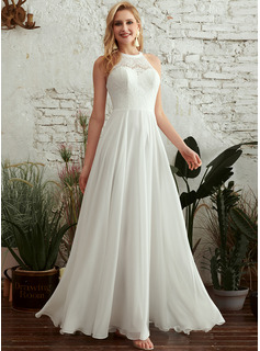 A-Line Scoop Neck Floor-Length Wedding Dress