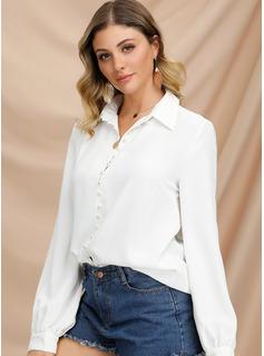Długie rękawy Poliester Lapel Koszula Bluzki Bluzki