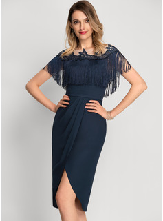 Sheath/Column Scoop Neck Asymmetrical Chiffon Cocktail Dress With Lace Beading