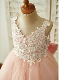 A-Line Knee-length Flower Girl Dress - Tulle/Lace Sleeveless Straps With Bow(s)
