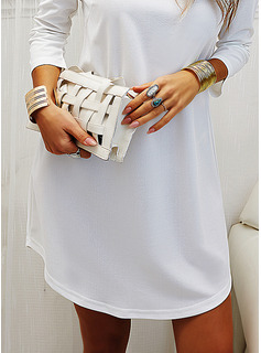 Solid Shift 3/4 Sleeves Mini Little Black Casual Tunic Dresses
