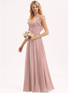 Empire V-neck Floor-Length Chiffon Evening Dress With Cascading Ruffles