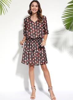 Over Knee V-hals Polyester Print 3/4 Ærmer Mode kjoler