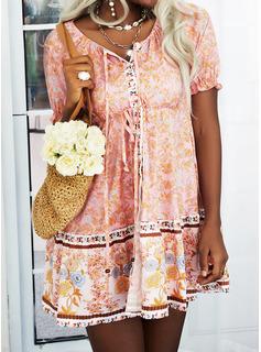Floral Impresión Vestido línea A Manga Corta Mini Boho Casual Vacaciones Patinador Vestidos de moda
