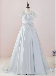 Ball-Gown/Princess Sweep Train Flower Girl Dress - Satin/Lace Short Sleeves Scoop Neck With Beading
