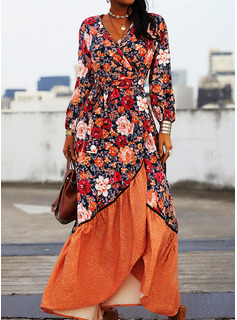 Floral Impresión Vestido línea A Manga Larga Asimétrico Casual Patinador Vestidos de moda