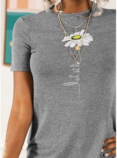 Print Blomster Korte ærmer Bomuld rund hals T-shirt Bluser