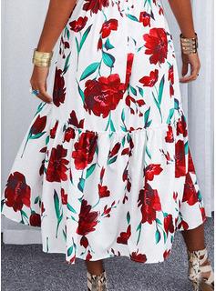 Floral Impresión Vestido línea A Sin mangas Maxi Sexy Patinador Vestidos de moda
