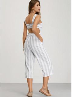 Cuello redondo Algodón/Lino Impresión Sin mangas raya Vestidos de moda