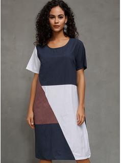 mezcla de algodón con color-block Midi Vestido