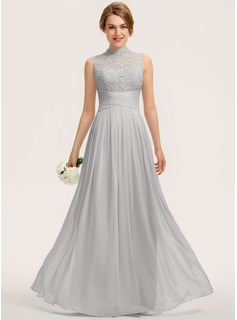 A-Line High Neck Floor-Length Chiffon Lace Evening Dress With Ruffle