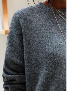 Punto grueso Sólido poliéster Cuello redondo Suéter Suéteres