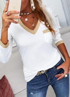 Trozos de color Cuello en V Manga Larga Casual camiseta
