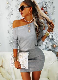 Paljetter Åtsittande Långa ärmar Mini Party Elegant Modeklänningar