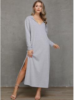 Solid Shiftklänningar Långa ärmar Maxi Fritids Tröjor Modeklänningar