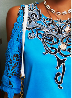 Floral Lace Print Cold Shoulder 3/4 Sleeves Casual Blouses