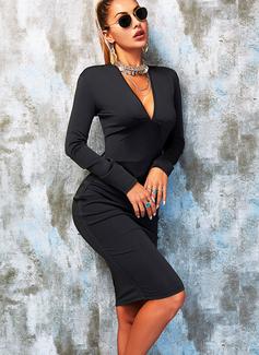Solid Bodycon Long Sleeves Midi Little Black Party Elegant Pencil Dresses