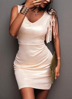 Solid Bodycon Korte ærmer Mini Party Mode kjoler
