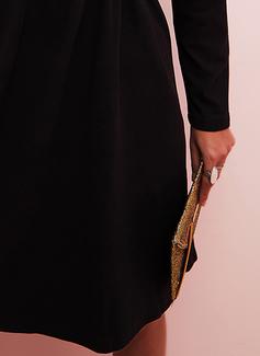 Dentelle Couleur Unie Coupe droite Manches Longues Mini Petites Robes Noires Décontractée Tunique Robes tendance