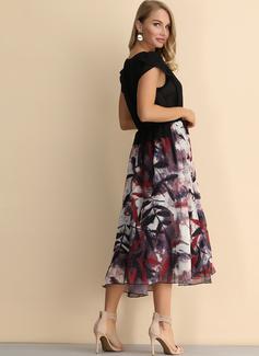 Blomster Print Kjole med A-linje Korte ærmer Midi Vintage Casual skater Mode kjoler
