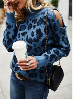 Cold Shoulder Turtleneck Casual Leopard Sweaters