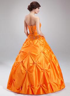 Ball-Gown Sweetheart Floor-Length Taffeta Quinceanera Dress With Ruffle Beading