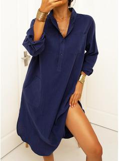 Solid Shiftklänningar Långa ärmar Maxi Fritids Skjortklänningar Modeklänningar