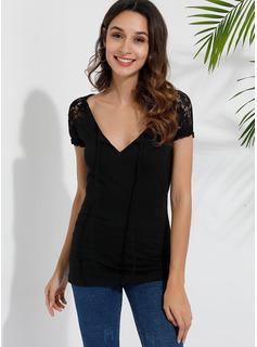 Blonder Solid Korte ærmer Polyester V-hals T-shirt Bluser