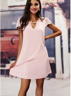 固体 シフトドレス 半袖 ミディ カジュアル エレガント チュニック ファッションドレス