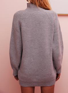 Rollkragen Lässige Kleidung Lange Einfarbig Grobstrick Pullover
