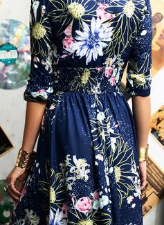 Květiny Tisk Do tvaru A 1/2 rukávy Maxi Elegantní Skaterové Módní šaty