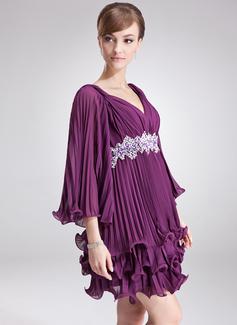 Forme Princesse Col V Court/Mini Mousseline Robe de vacances avec Brodé Paillettes Plissée