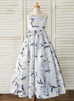 Ball-Gown/Princess Floor-length Flower Girl Dress - Satin Sleeveless Straps