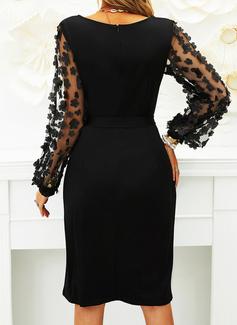 Solid Bodycon Lange ærmer Midi Den lille sorte Party Elegant Blyant Mode kjoler