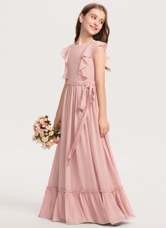 A-Line Scoop Neck Floor-Length Chiffon Junior Bridesmaid Dress With Bow(s) Cascading Ruffles