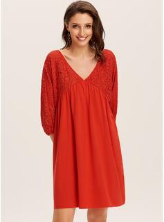 knælange V-hals Polyester Blonder/Solid Lange ærmer Mode kjoler