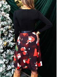 Print A-line Long Sleeves Midi Party Vintage Christmas Elegant Skater Dresses