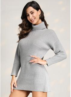 Acanalado Punto grueso Sólido poliéster Cuello De Tortuga Suéter Vestidos De Suéter Suéteres