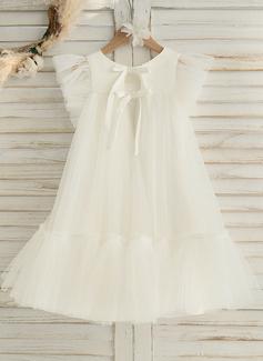 A-Line Knee-length Flower Girl Dress - Satin/Tulle Sleeveless Scoop Neck With Ruffles