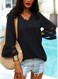 Lace Solid V-Neck 3/4 Sleeves Flare Sleeve Casual