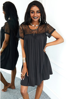 Couleur Unie Coupe droite Manches Courtes Mini Petites Robes Noires Décontractée Tunique Robes tendance